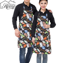 Adjustable Stripe Bib Apron with 2 Pockets Chef Waiter Kitchen Cook Kitchen Apron Tool Polyester Avental Delantal For Man Woman