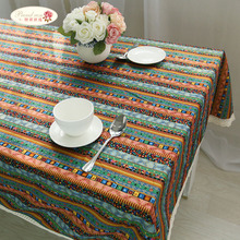 Proud Rose National Style Cotton and Linen Tablecloth Bohemia Tea Table Cloth Creative Stripe Table Cover Dustcloth