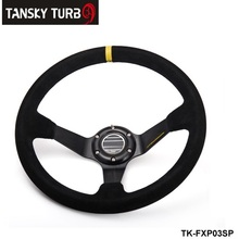 TANSKY - 350mm Universal Black Suede Leather Deep Dish Drift Racing Steering Wheel Popular  TK-FXP03SP
