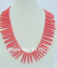 Gift Special Design Style Red Coral Needles Stone Handmake Necklace Woman Party Gift(China)