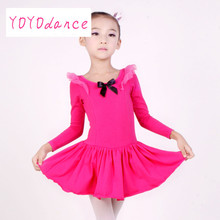 Long sleeved cotton Spandex Gymnastics Leotard for Girls Pink Lavender Bright pink Ballet Dress Clothing Kids Dance Wear 31003