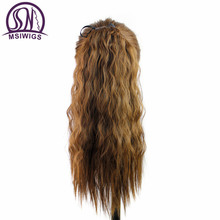MSIWIGS Curly Synthetic Ponytail Hair Extensions Heat Resistant Tie Up Clip In Black Brown Ombre Hairpieces False Hair Wig