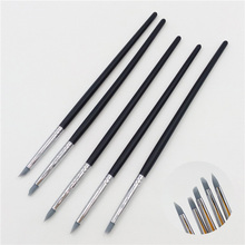 5pcs Small Pottery Clay Sculpture Carving Tools Silica Gel Pen Painting Nail Brush Set Different Shapes Art Craft Supplies(China)