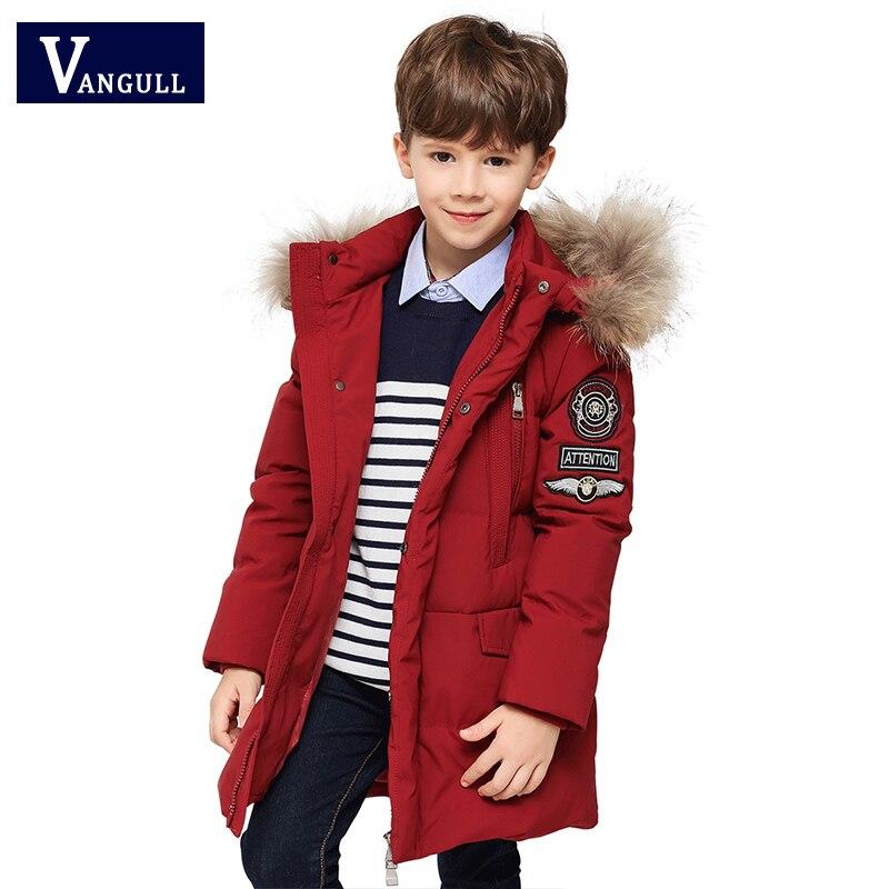 Winter childrens cotton padded clothes,4-13 year old boy thickening fur collar solid color labeling Overcoat boys ParkaÎäåæäà è àêñåññóàðû<br><br>