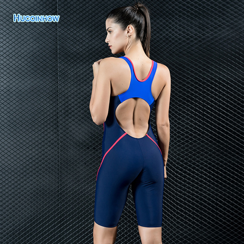HUCOINHOW Brandly Women Sports Swimsuit Knee Length Swimming Suit for Women Athlete Competitive Bathing Suit Surf Rushguard<br>