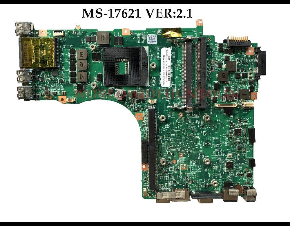 High quality For MSI GT70 Laptop Motherboard MS-17621 VER:2.1 PGA989 SLJ8E HM77 DDR3 100% Fully Tested