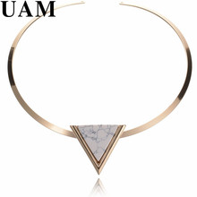 Online Shopping India Newest Gold Color Punk Short Choker Necklaces With Black/White Geometric Triangle Faux Stone Women(China)