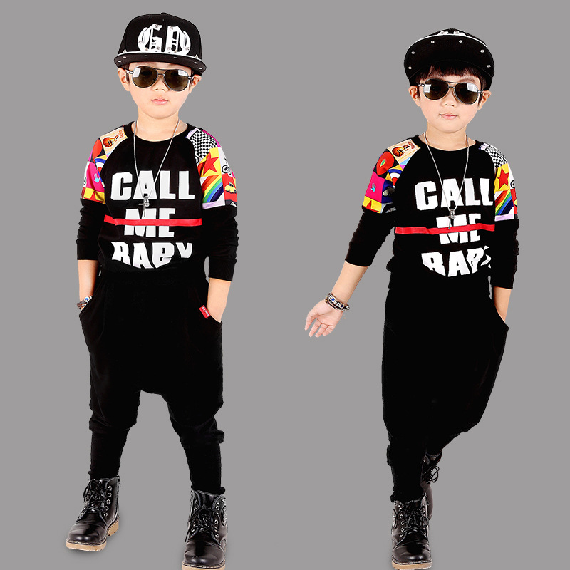 2017 Fashion Hip-hop Boys Hiphop Jazz Suit Child Tracksuits For cotton Letter Long sleeve Kids Clothes Sets 4 6 8 10 11 12 years<br><br>Aliexpress