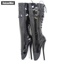 "Buy jialuowei New 18cm/7"" ultra high heel stilleto heel spike heel red shiny Lace-up women knee high ballet boots sexy fetish boots"