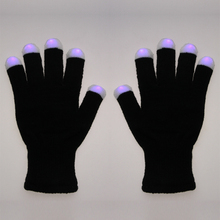 Elastic Acrylic Fibers LED Rave Flashing Gloves RGB Coloar Glow 7 Mode Light Up Lighting Finger for Christmas New Year