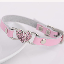 New Fashion Soft Cowhide Leather Dog Pet  Collar Necklace Matched Leashes Lead collar para perro Chihuahua rhinestone heart