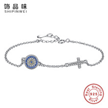 Shipinwei Fashion 925 Sterling Silver New CZ Cross Bracelet Blue Crystal Round Pendent Link Chain Bracelets For Women Jewelry(China)