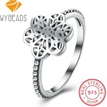 WYBEADS 925 Sterling Silver Flower Daisy Lace Rings Vintage Finger Ring For Women Wedding Engagement Party Fashion Jewelry