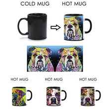 Cute Bulldog Heat Activated Mugs Mug Lovely Animal Color Change Coffee Cup Magic Mugs Temperature Sensing For Birthday Gift