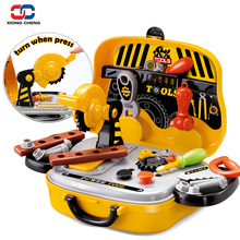 Construction Tools Toy Set for Baby Boy Plastic Chainsaw Screws Hammer Pretend Play Kids Suitcase Garden Carpentry Tool Box D50(China)