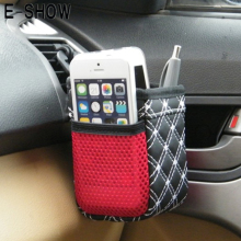 E-SHOW Car Auto Grid Net Air Vent Outlet Sundries Cell Phone Storage Bag Box Case Pouch Pocket Holder - Random Color