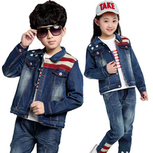 2017 fashion autumn season jeans set the new version of the trend of jeans,3PCS of boy and girl, large children's suits(China)