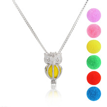 Fashion Jewelry Hollow owl DIY Pendant Necklace Multicolor Ball Can be add purfume Silver/White Ladies Animal Jewelry 1 set(China)