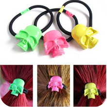 Free Shipping new jewelry good hair accessory Punk metal headband hair rope royal lovely skull neon color rubber band Sexy women(China)