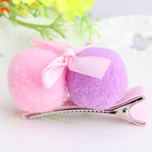 M MISM Baby Hair Accessories Ribbon Bow Tiny Two Plush Dot Balls Hairpins Child Headdress Girls Head Ornaments Daily Hair Clip