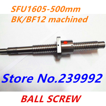 SFU1605 500mm Ball Screw Rolled ballscrew 1 pc SFU1605 L 500mm with 1605 Flange single ball nut for CNC parts BK/BF12 machined