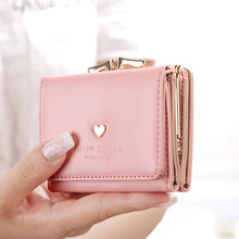 Hanup 2017 new Korean love small wallet Students Coin Purse 3 fold wallet female short paragraph Multifunctional Storage Wallet