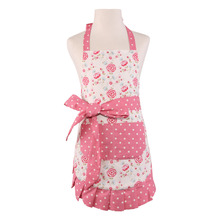 Neoviva Cute Cotton Darling Apron for Children with Pocket and Lining, Style Kathy, Floral Prism Pink