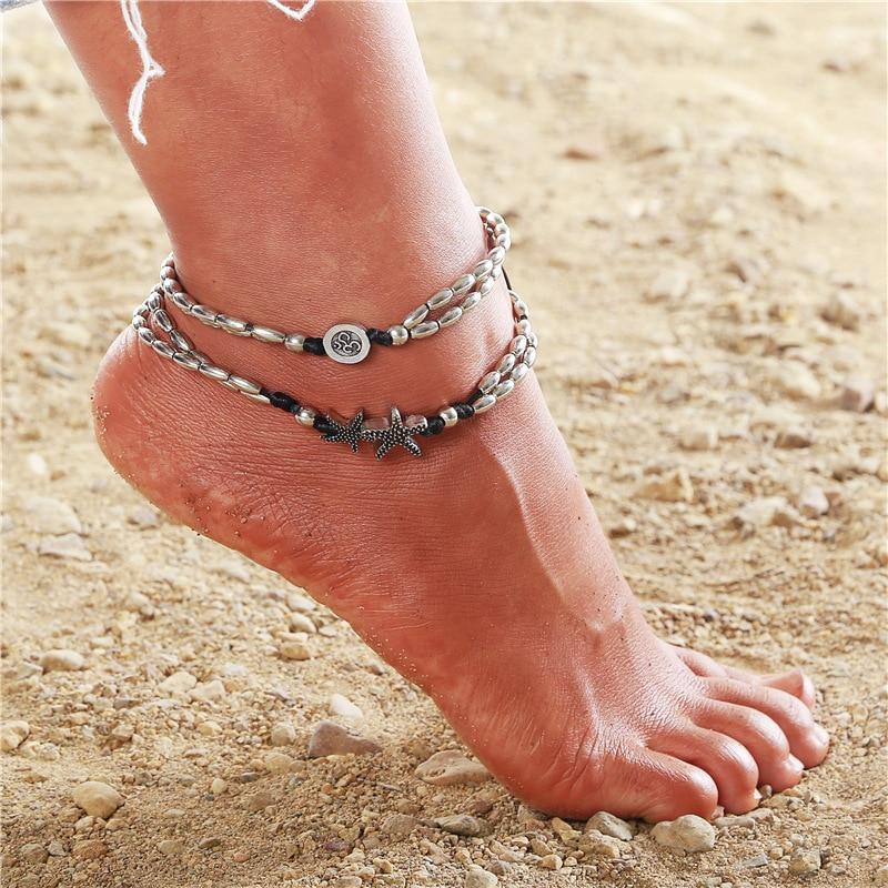2pcs//set Boho Shell Halhal Anklet women ankle Bracelet Silver Foot Chain Jewelry