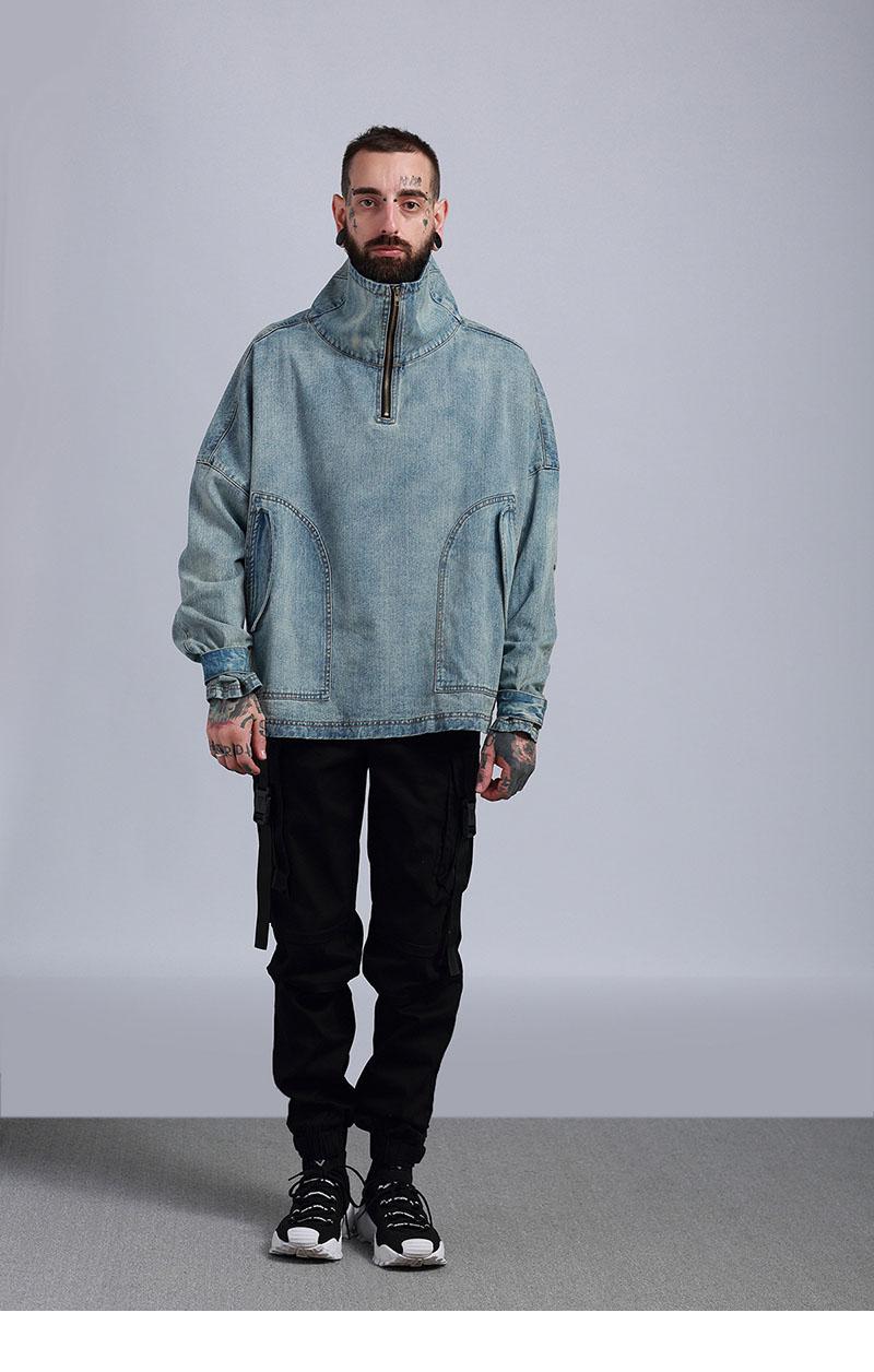 Aolamegs Denim Jacket Men Hanging Shoulder OVERSIZE Cowboy Casual Men's Jacket High Street Fashion Stand Collar Outwear Men Coat (16)