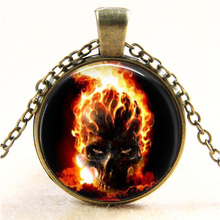 Ghost Rider burning skull Glass pendant necklace vintage bronze movie art Photo Glass Dome Gothic necklaces jewelry Easter gift(China)