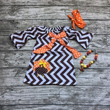 Thanksgiving baby girls kids turkey brown wave chevron fashion cute party dress with necklace and headband clothes suit set