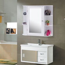 Giantex Multipurpose Mount Wall Surface Bathroom Storage Cabinet with Mirror White Modern Wood Bathroom Furniture HW56729(China)
