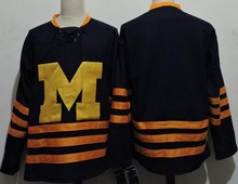 Vintage Michigan Wolverines Hockey Jersey Embroidery Stitched Customize any number and name Jerseys(China)