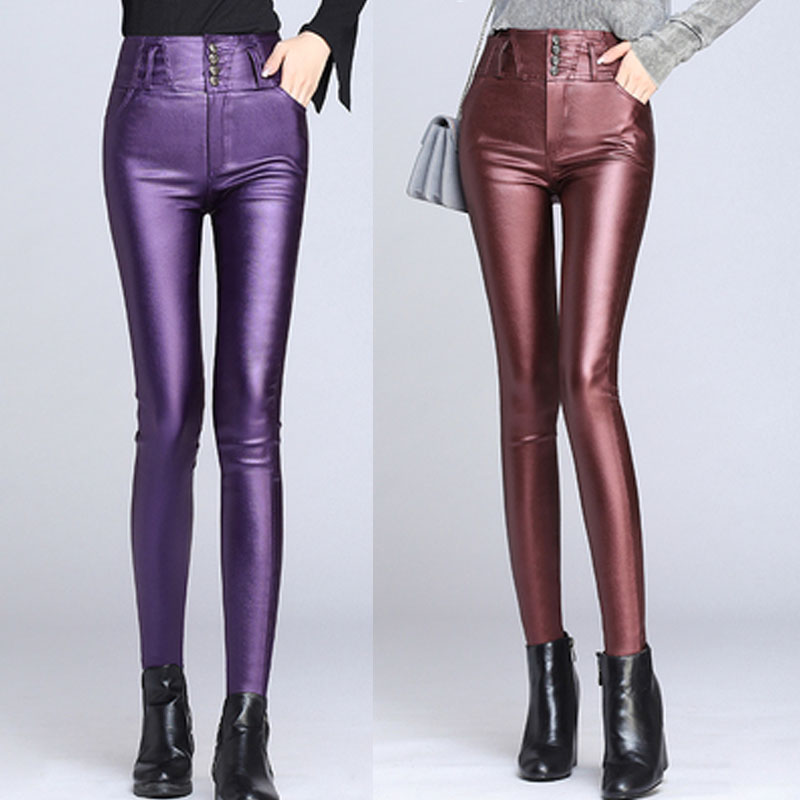 Fall Winter Fashion Womens Ladies Wine Red Blue Purple Black High Waisted Stretch Leather Pencil Pants , Woman Elastic Trousers
