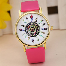 Cheap Women Vintage Feather Pattern Dial Clock Ladies Casual Leather Band Quartz Watch Analog Dress Wrist Watches Montre Femme