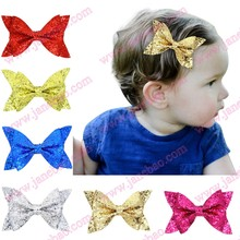 free shipping 50pcs 2017 4.5'' newest big seuqin hair bows with clips glitter hair bows big hair bows for girl hair assesories(China)