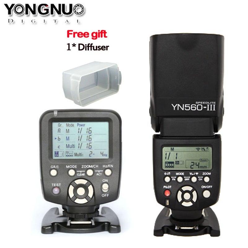 New Yongnuo Flash Speedlite YN560 III YN560III + 1pcs YN560-TX Wireless Manual Flash Controller and Commander for Canon Nikon<br><br>Aliexpress