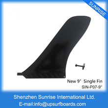 "SUP Fins Single Longboard Center Fin Black 9.0""Length Plastic Fin with Screw Hot Sale Surfboard Fins"