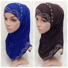 (color same from the picture you chose)Fashion muslim headscarf shawl wrap crystal beaded two pcs HIJAB(China)
