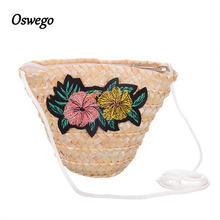 Oswego Girls Straw Bags Zipper Sequined Embroidery Lace Bucket New Small Designer Weave Straw Casual Crossbody Bags For Kids(China)