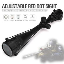 6-24X50 Riflescope Aim Adjustable Green Red Dot Hunting Light Tactical Scope Reticle Optical Sight Scope with 20mm/11mm Rails