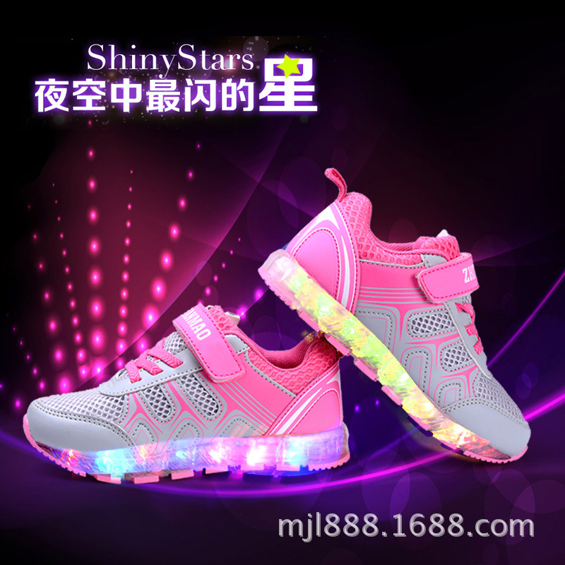 Childrens breathable Sports USB Flash Colorful Luminous Shoes  Brand glowing sneakers Men Sports  Led Lighted Shoes <br>