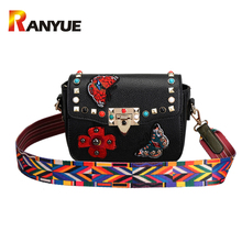 Fashion Embroidery Butterfly Floral Rivet Ribbons Women Bag Designer Handbags High Quality Pu Leather Shoulder Crossbody Bag New