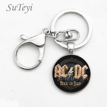SUTEYI Classical Men Car Key POP Band Souvenirs Gifts ACDC Pendant Keychain Fashion Zinc Alloy AC/DC Key Buckle Ring Jewelry