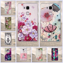 Phone Cases for Huawei Ascend Mate 7 Mate 3 Back Cover soft Silicone cell Phone Case for Huawei Mate7 Fundas 3D Flower Printed