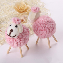 DoreenBeads 1 PC Handmade Wool Felt Products Cute Sheep for Keychain Windbell Making DIY Craft Supplies Decorations Gift for Kid(China)