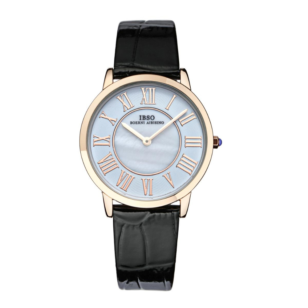 IBSO Elegant Rose Gold Womens Watches White MOP Dial Genuine Leather Strap Analog Quartz Watch 2202<br>