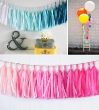25cm 10 inch tassels Tissue Paper Flowers Garland Banner bunting flag Party Decor Craft For Wedding Decoration etc(China)