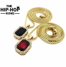 "Micro Rhinestone Red & Black Square Pendant 2.4mm 24"" Box Chain Gold Tone Pendant Hip Hop Necklace Set for Men Small Size(China)"