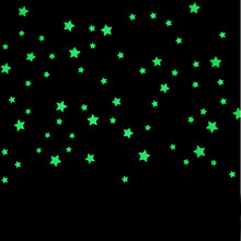 100PC Wall Stickers For Kids Rooms Beautiful Fluorescent Glow In The Dark Stars Plastic Wall Sticker Home Decoration Accessories
